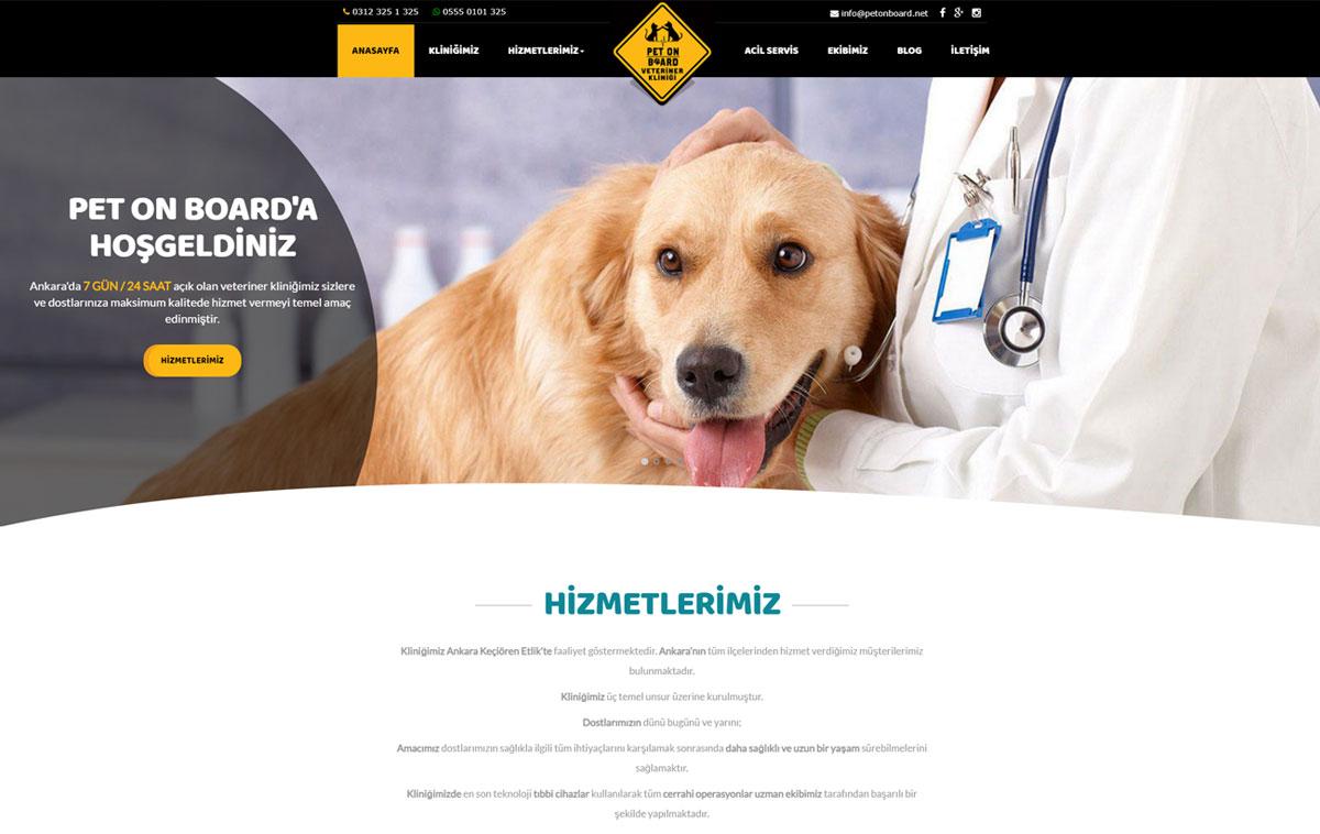 Pet on Board Veterinet Sitesi Web Tasarımı